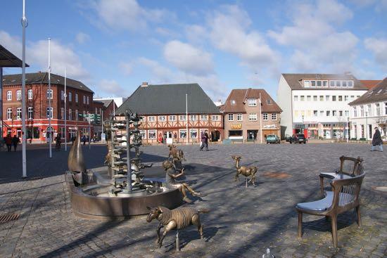 Torvet i Rendsborg i Tyskland