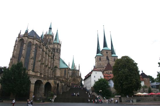 St. Marys Cathedral og St.Severus kirke i Erfurt
