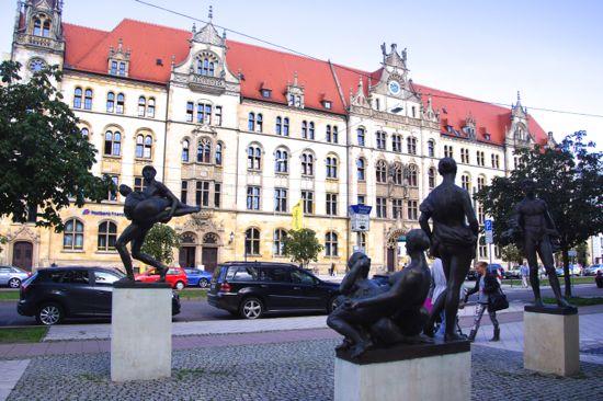Skulpturgruppe i Magdeburg
